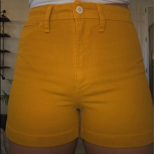 MADEWELL HIGH WAISTED MUSTARD YELLOW SHORTS